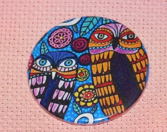 CLEARANCE, Seconds stock, Owl Needle Minder, Licensed, Cross Stitch Keeper, Heather Galler  Art, Fridge Magnet, Button Magnet, Pin Holder