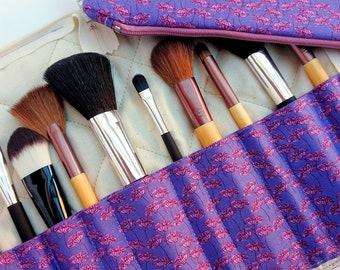 Makeup brush holder and bag set, travel makeup brush holder, purple brush organiser, purple makeup bag, gift for friend, purple gift