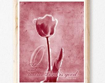 Taste And See, Flower, Scripture Art, Botanical Art, Religious Gift, Bible Verse, Christian Wall Art, Christian Art, Bible Art, Jesus Print