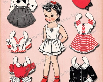 INSTANT DOWNLOAD, Paper Doll Printable, Digital Collage Sheet, Retro Vintage Girl