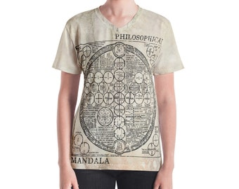 Lanesra Vintage Mandala Women's V-neck | All Over Printed Tshirt | Womens Clothing