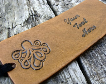 Personalized Luggage Tag Leather Octopus Tentacles