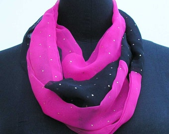 Pink and black Infinity scarf, upcycled scarf, boho scarf, summer scarf, black scarf, infinity scarf, pink cowl, black cowl, pink scarf