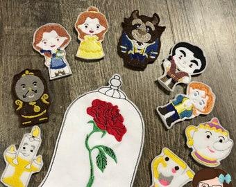 Handmade Princess and Friends 10 Piece Finger Puppet Set ~ Finger Puppets ~ Puppets ~ Princess Puppet ~ Disney Inspired, Beauty