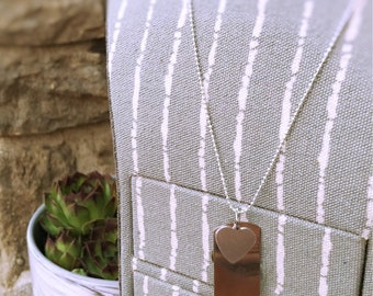 Silver Dog Tag Vertical Hand Stamped  Necklace with Heart Charm