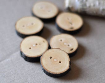 wood buttons •  set of 6 Maple wooden buttons •   tree branch buttons • handmade buttons