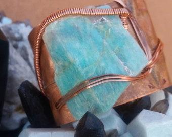 SOLD- Amazonite form folded copper cuff bracelet