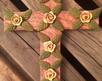 Large Cross Warm Muted Colors and Yellow Roses, Drab Olive Leaves Rustic Mexican Art Cross wall hanging Religious Folk Decor Handmade
