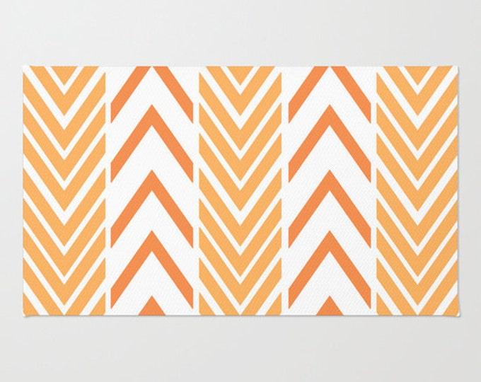 Floor Rug - Orange and White - Door Rug - Orange Arrows - Bathroom Rug  - Original Art - Throw Rug - Orange ZigZag - Made to Order