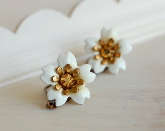 cherry blossom earrings, sakura jewelry, enamel flower earrings, white flower dangles