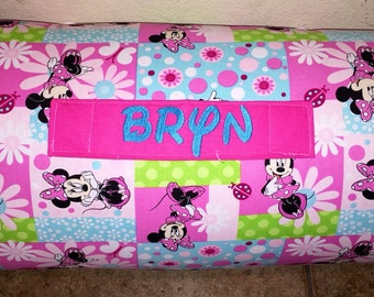 """Personalized Preschool / Kinder Nap Mat in Disney Mickey Mouse with Pillow, Minky Blanket and 1"""" memory foam"""