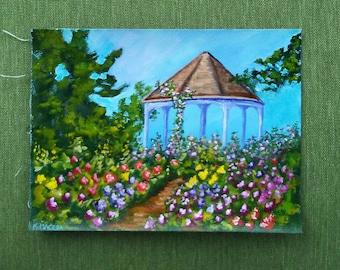 Garden with Gazebo - 6x8 handpainted acrylic painting