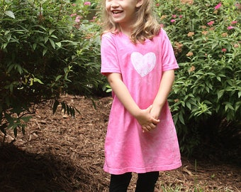 Girls Easter Dress, Pink Easter Dress, Pink Girls Dress, Easter Sunday Dress, Pink Heart Dress, Valentine's Day Dress, Spring Dress (6) SALE
