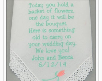 PERSONALIZED Embroidered FLOWER GIRL Handkerchief with Flower design