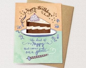 Cake Birthday Card - happy cake card, happy birthday card
