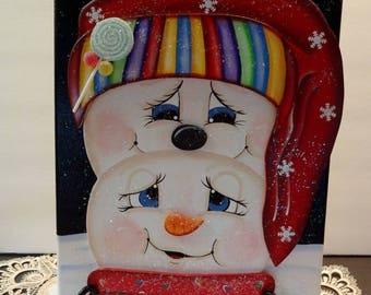 Snowmen Canvas 11 by 14 Painting, Winter Decor, Snowman Decor, Snowmen Painting