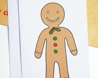 Christmas Gingerbread Man Illustration A6 Card