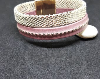 """RHINESTONE Pink Pearl"" leather strap"