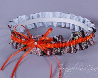 Wedding Garter in Orange and Realtree Camouflage Grosgrain with Swarovski Crystal