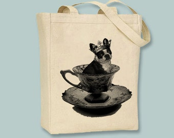 Adorable Boston Terrier Puppy in Tea Cup on Canvas Tote -- Selection of  sizes available