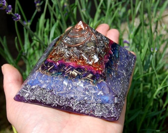 Orgonite® Pyramid Giza with Copper Coil and lots of metal shavings
