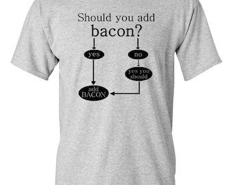 CLEARANCE, Should You Add Bacon T Shirt, Funny T Shirt, Bacon Tshirt, Funny Tshirt, Flow Chart Bacon Tee,  sm-5xl plus size