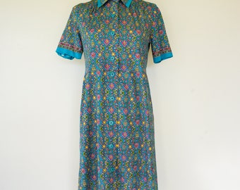 Free Shipping! Vintage Moroccan Print Dress Size M, Vintage Japanese Dress, 1980s Dress, Vintage Dress, Womens Dress, Retro Clothing