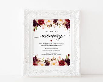 Printable In Loving Memory Sign Template, Memorial Table Sign, Burgundy Floral Wedding Sign, Editable 2 sizes PDF Instant Download #101