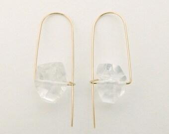 Quartz earrings, Minimalist earrings, Crystal earrings, Gemstone earrings, Rough quartz earrings, Clear quartz earrings