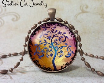 "Curly Tree of Life Necklace - Blue and Purple - 1-1/4"" Round Pendant or Key Ring - Handmade Wearable Photo Art Jewelry, Picture Gift, Nature"