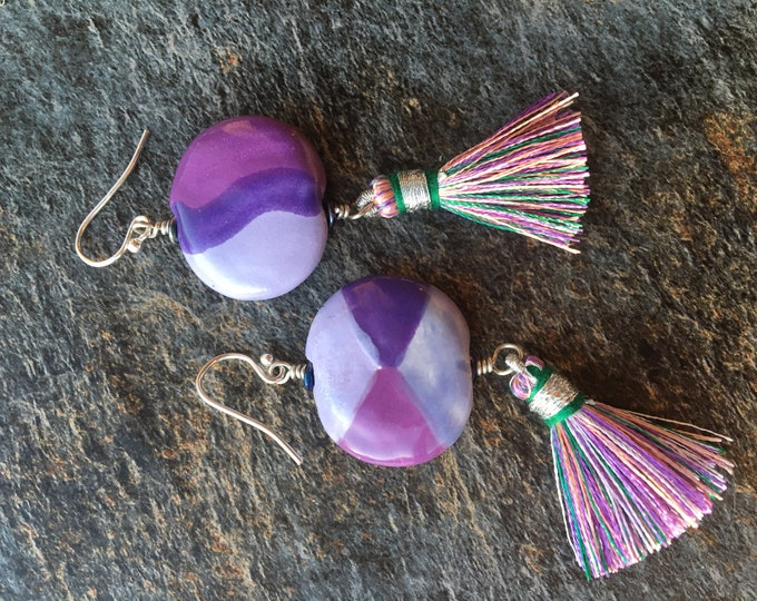 Purple Toned Ceramic Earrings with Tassel and Sterling Silver Accents Fun Unique Bright Loud