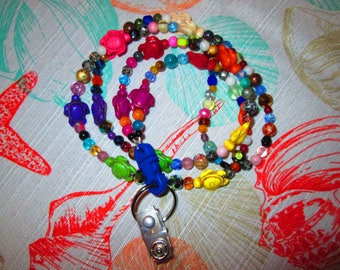953 multi small round mix with sea turtle handmade beaded lanyard with breakaway clasp