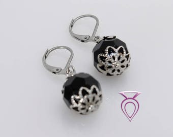 Handcrafted Black Glass Earrings