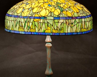 Tulip Lamp Shade, Tulip Lamp, Stained Glass Shade, Desk Lamp, Bedside Lamp, Yellow Lamp Shade, Floral Lamp Shade