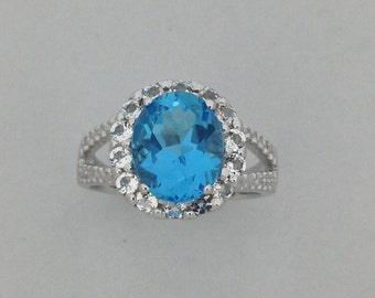 Natural Blue Topaz with White Topaz Ring 925 Sterling Silver