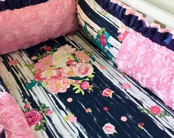 Crib Bumper, Pink Crib Bumper, Foam Crib Bumpers, Baby Bumper Pads, Luxury Crib Bumper, Baby Bumper, Crib Bumper Pads, Girl's Crib Bedding