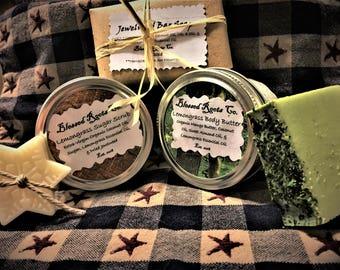 SPA SET: 4-Item Jewelweed & Lemongrass Essential Oil Spa/Gift Set