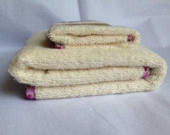 Wash Cloth and Hand Towel Set - Unbleached Organic Cotton Towelling - Bias Edged - Wash Cloth - Organic