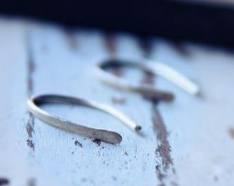 Sale. SALE Sterling Silver Open Hoop Horseshoe Earrings. Minimalist. Arc. Wishbone. Line. Linear