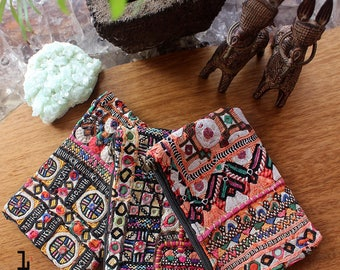 Small Tribal Wallet, Vintage Embroidery Indian Wallet, Womens Gift, Bohemian Hippie Gypsy Ethnic Boho Wallet