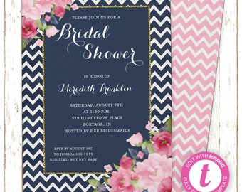 Navy & Pink Invitation | Bridal Shower | Printable Editable Digital PDF File | Templett | WSI216DIY