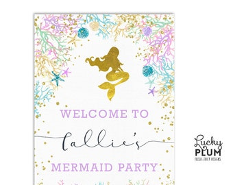 Mermaid Welcome Sign / Starfish Welcome Sign / Under the Sea Welcome Sign / Ocean Welcome Sign / Seashell Coral Printable  MD02
