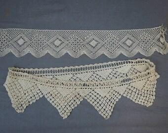 2 Vintage Lace Trims, Crochet & Bobbin Lace Antique Edwardian Lace Pieces