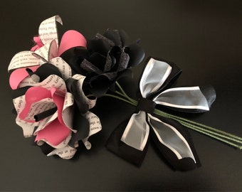 Pink, black and white book flower bouquet