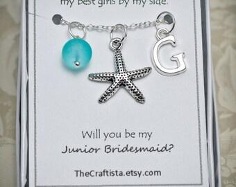 Personalized Junior Bridesmaid Necklace, Starfish Necklace, Junior Bridesmaid Gift, Starfish Charm, Beach Wedding, Starfish Pendant