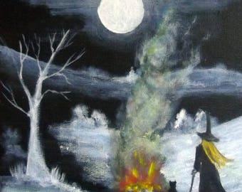 Moonlight and Magic  - Original Acrylic on Box Canvas Painting.