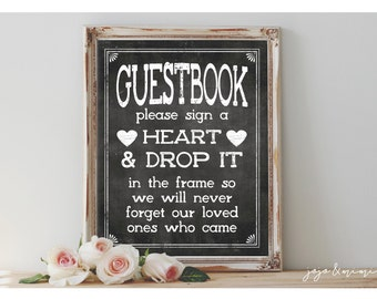 Instant 'Please sign a Heart & Drop it in the frame' Printable 8x10 and 11x14 Event Sign Wedding Party Guestbook Alternative Chalkboard