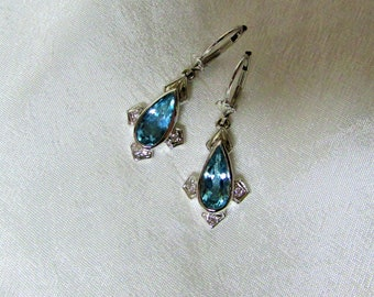 14k white gold and aquamarine earrings
