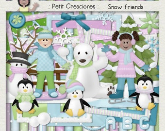 "KIT SCRAPBOOKING DIGITAL ""Snow friends"""