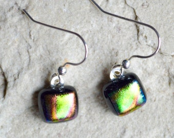 Dichroic Glass Drop Earrings with Sterling Silver Wires - Iridescent Oil on Water Rainbow of Colours Small Square Shapes - Gift Boxed